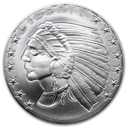 1 oz Silver Round $5 Incuse Indian Design