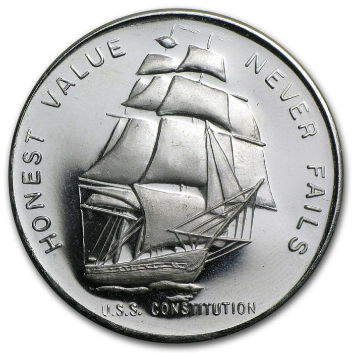 Liberty Mint - U.S.S. Constitution Honest Value Never Fails 1 oz Silver Coin