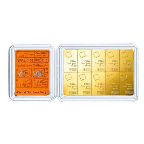 10 x 1-10 oz Gold Valcambi CombiBar .9999 Fine back