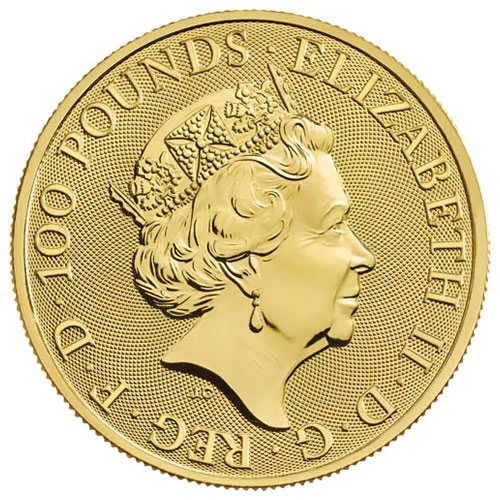 2021 1 oz British Gold Queen's Beast Collection Coin - back