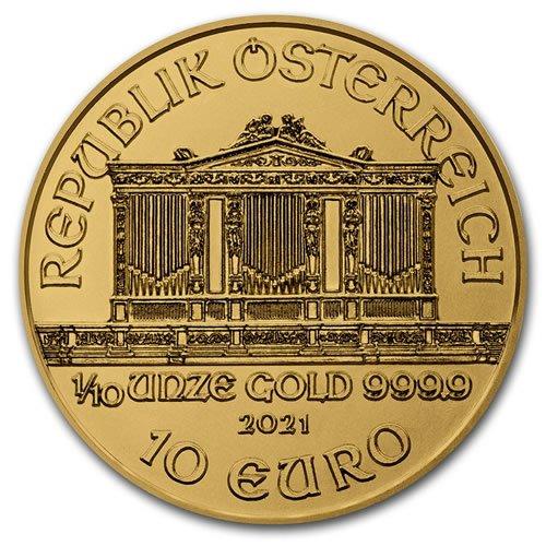 2021 Austria 1-10 oz Gold Philharmonic BU - back