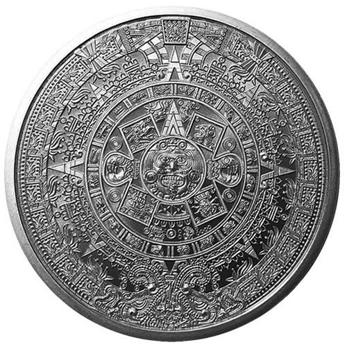 Aztec Calendar 1 oz Silver Round front