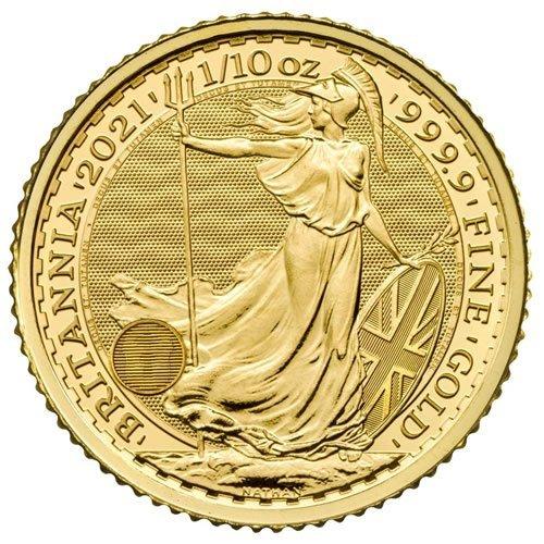 British Gold Britannia Coin1-10oz front