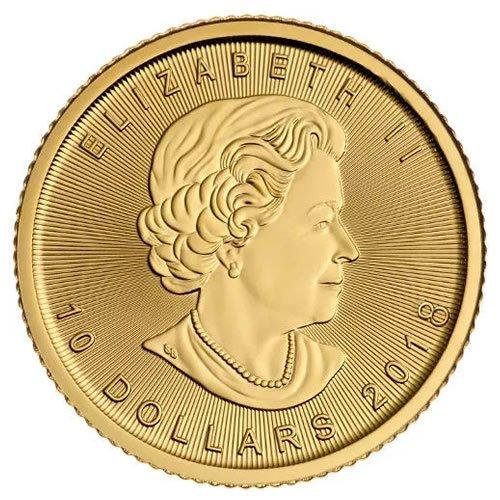 Canadian Gold Maple Leaf 1-4 oz Coin back