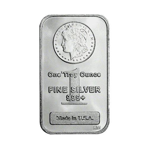 HM Morgan silver Bar 1 oz front
