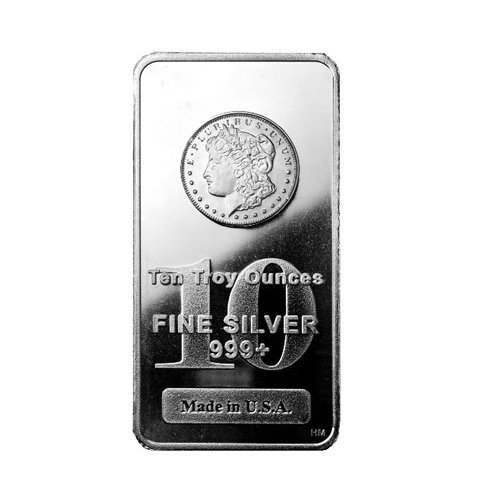 HM Morgan silver Bar 10 oz FRONT