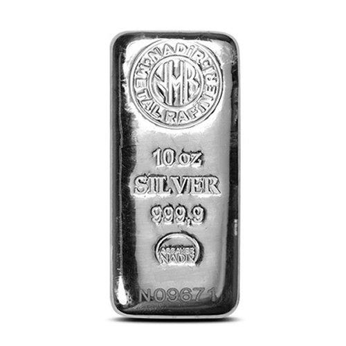 Nadir Refinery Silver Bar 10 oz front