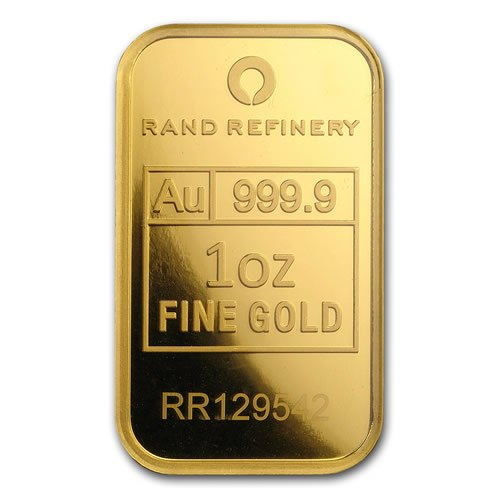 Rand Refinery 1 oz Gold Bar front