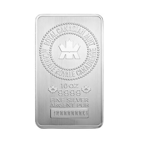 Royal Canadian Mint Silver Bar 10 oz front